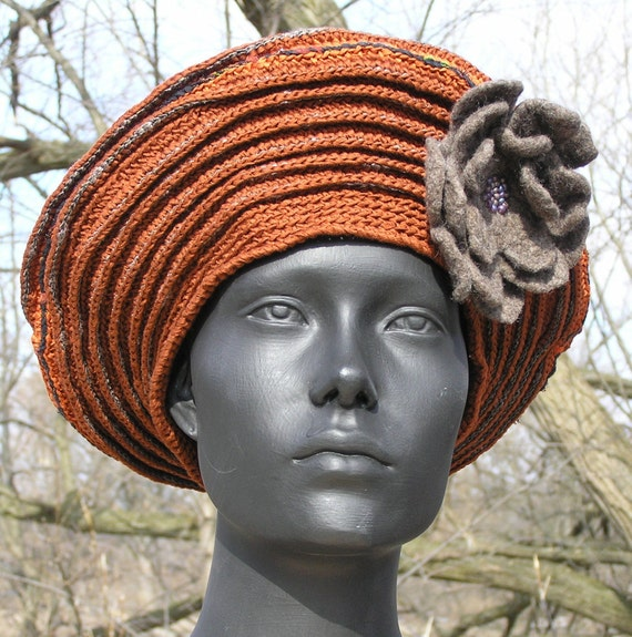 Huge Earthy Brown Crochet Hat with a Gorgeous Hand Made Felt Flower Pin...