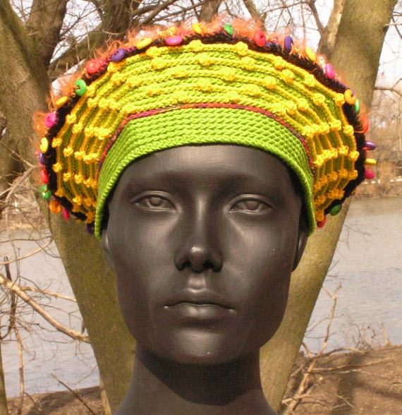 Bright Greens & Ocre Orangies Crochet Hat with Two Beautiful Colorful Buttons...