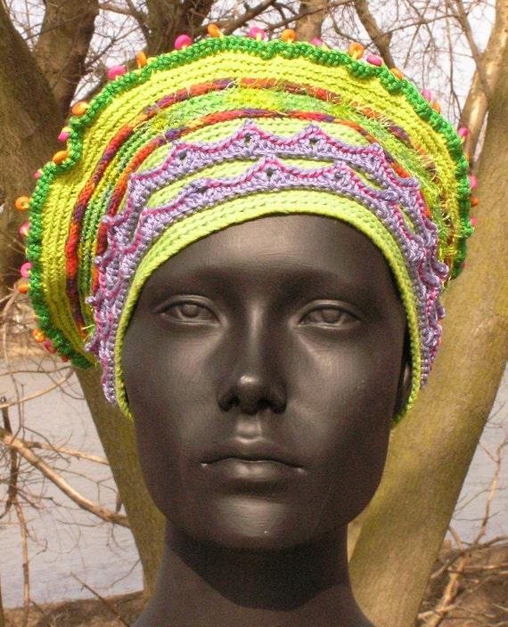 Springtime Yellows & Mauves Crochet Hat with a Huge Mauve Felt Flower Pin...