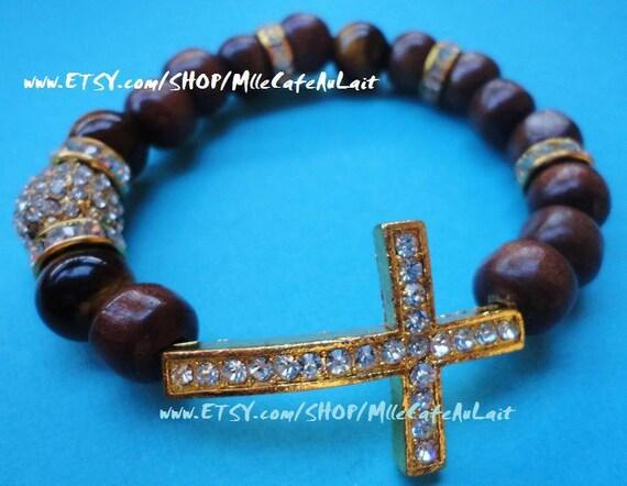UNISEX / MENS Gold Sideways Cross, Czech Pave Crystals, Gold Diamond Rondelle, Tigers Eye, Tan Polished Wood Beaded Bracelet