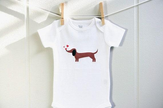 Valentines baby clothes, dachshund chasing hearts baby bodysuit