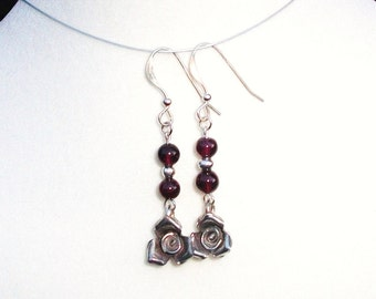 """Hills Tribe Sterling Silver Roses with Garnets Dangle Earrings--""""How Sweet Romance Can Be"""""""