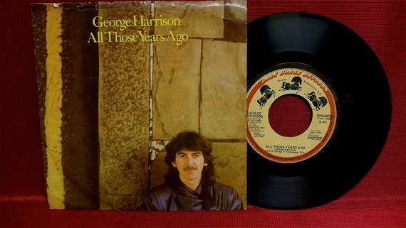 GEORGE HARRISON - All Those Years/Writing's On The Wall - 1981 Vintage Vinyl 45 RPM Record Album...w/Colored Picture Sleeve Cover