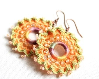 Melon Lavender Multi Colored Circle Dangle Earrings