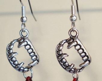 Vampire Earrings Dracula Teeth Fangs Blood Jewelry