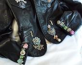 Rhinestone leather jacket, Soft Black Vintage Leather Coat, Bejeweled, Motorcycle Glam Jacket, Layaway Plans