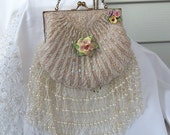 Beaded White Vintage Bridal Purse with beaded fringe, vintage porcelain roses, beaded train, OOAK Haute Couture
