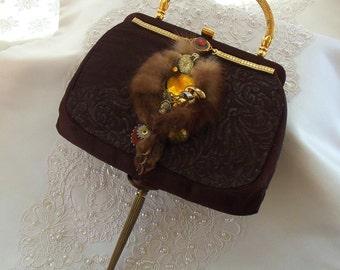 dvant Garde Purse, Steampunk Art Clutch, Haute Co, watch works and brass hardware, OOAK unique Couture Handbag,