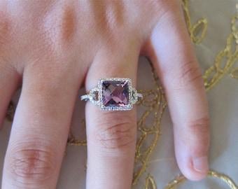 Amethyst & diamonds 14K White Gold Ring.