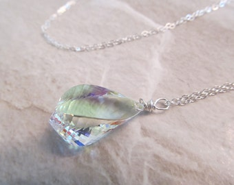 Mystic Crystal Quartz Necklace in Sterling Silver, Faceted Spiral Twist Briolettes