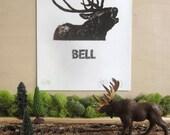 Deer Print - Silkscreen - Limited Edition - Animal Calls Series - Bell - Buck - Deer Antlers - Gift for Hunter