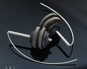 sterling silver earrings 925 silver jewelry modern earrings dangle earrings simple shell gray best friend gift for women gift for her