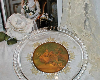 Glass Perfume Tray or Decorative Platter With Romantic 18th Century Picture and Gold Filigree Flowers - Great For Romantics