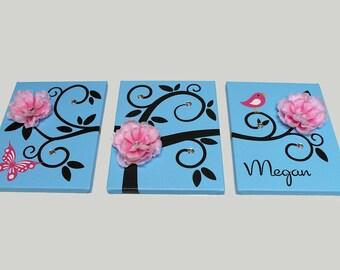 "Kids Children Wall Art Baby Personalized Swirly Tree Print 3 11"" x 14"" Nursery Stretched Canvas Decor Kids OHSC"