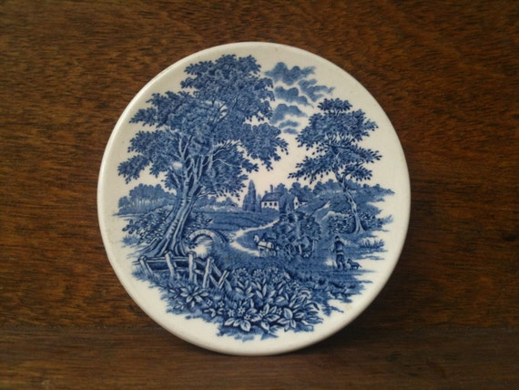 Vintage English Blue White Side Sandwich Plate with a Country Side Motive Design Transferware circa 1940-50's / English Shop