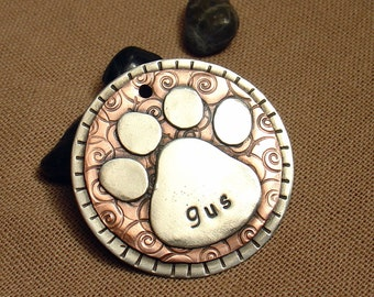 Dog Tag - Dog ID Tag - Pet Tag - Dog Tags Custom- Fancy Paw Print