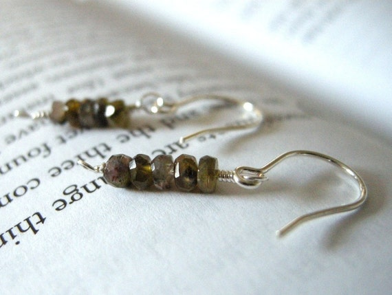 Autumn Tourmaline Rondelle Sterling Silver Earrings / Faceted Golden Brown Mauve, Earthtone Taupe, Woodland Boho Jewelry, October Birthstone
