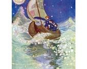 Winken Blinken and Nod Greeting Card - Repro Willy Pogany Illustration