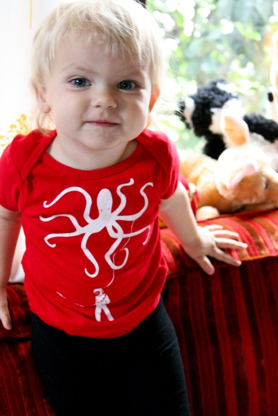 Toddler Octopus w Diver Shirt sz 12-18 months- Screen Printed made in USA