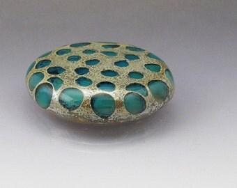 Blue lampwork glass ring top Interchangeable pendant top Cabochon screw on ring topper Screw on bead Blue Sea Rocks Anne Londez SRA OOAK