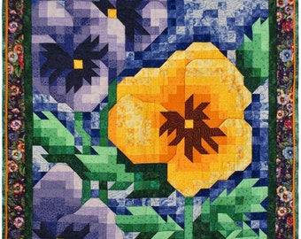 PDF Quilt Pattern - Pansy Mosaic Quilt Pattern