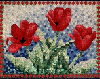 Quilt Pattern - PDF - Tulip Mosaic Art Quilt Pattern - Immediate Download