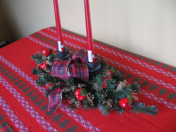 Christmas Table Centerpiece Faux Pine Red Apples Candles Plaid Bow Red Green Centerpiece SnowNoseCrafts