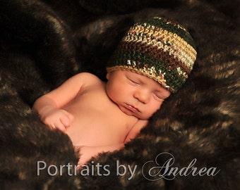 Baby Boy Camouflage Hat - Baby Boy Hats - Newborn Hats - Cute Photography Prop - SALE