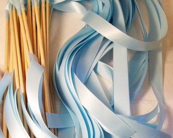 Satin Wedding Ribbon Wands - Custom Colors - Pack of 100 - Shown in Light Blue - Unique ceremony exit, Instead of rice