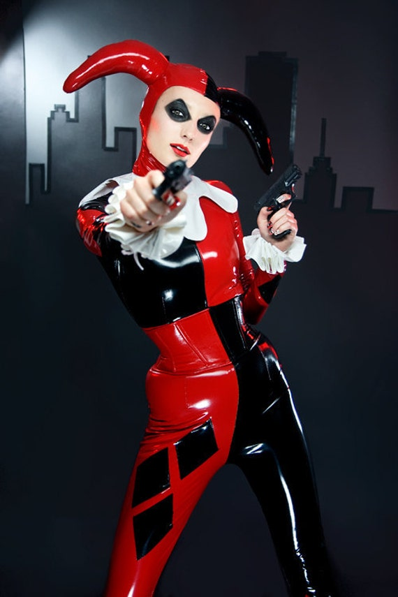 """S steel boned black and red PVC Corset belt with white eyelets Artifice (made to order) 23"""" wide for 26-28"""" waist"""
