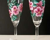 Pink Flowered Hand Painted Champagne Glasses