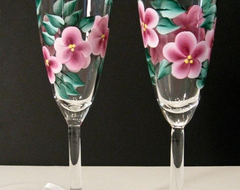 Hand Painted Champagne Glasses, Pink Flowers