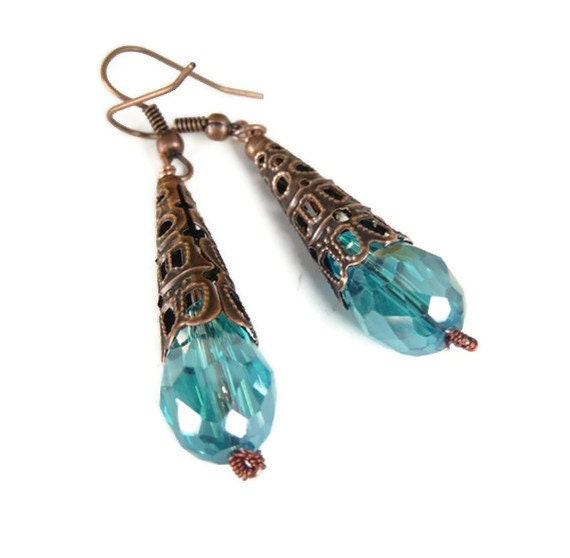 Copper crystal earrings, oxidized, cone, teal, mint, blue, filigree, teardrop, dangle, long, swarovski, Outlet, clearance