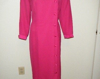 Vintage 80's Fuchsia Button Down Dress by Henry Lee Petites