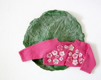 Knitted little baby coat in pink full of flowers. 100% cotton. READY TO SHIP size newborn.