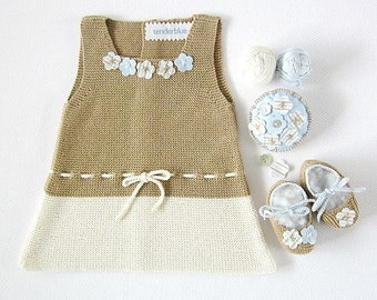 Knitted baby dress in camel and pearl with little flowers , matching shoes. 100% cotton. Newborn Item UNIQUE.