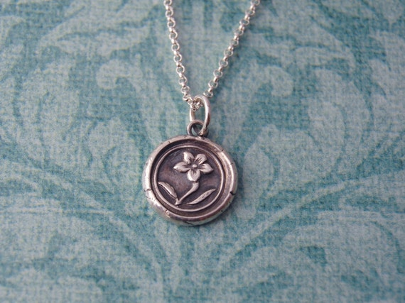 Silver Wax Seal Flower Necklace - Forget Me Not - Ready to Ship