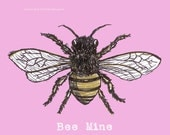 Valentine's Day Card Bee Art in Pastel Pink Baby Pink Bee Mine