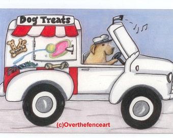 Dog Art Dog Card Fine Art Print Greeting Card from Original Illustration YELLOW LABRADOR drives treat truck