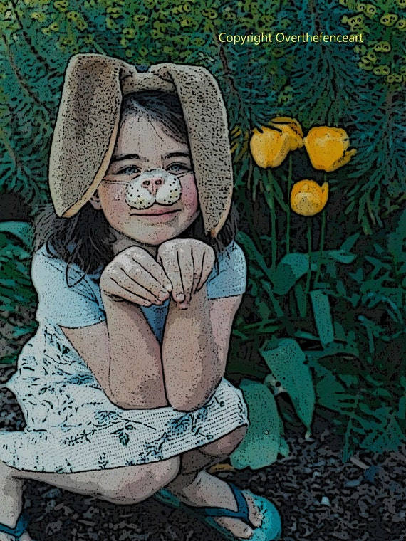 Easter Card Tulips and Girl with Bunny Ears Poster Art