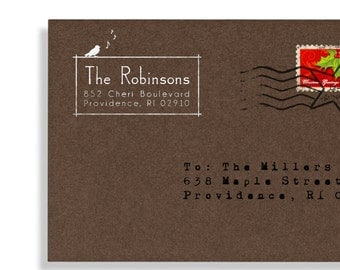 Custom Address Stamp - Personalized Stamp - Addressing Envelopes - Wood Mounted Stamp - Self Inker - Singing Bird - Wedding - DIY Printing