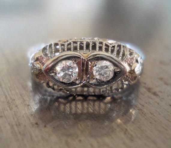 Edwardian Engagement Ring - Vintage Diamond Wedding Ring - Antique Engagement Ring - 18k White Gold - Right Hand Ring - Promise Ring