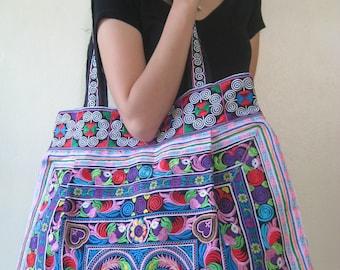 Ethnic Hobo Boho Hippie Asian Embroidered Thai Tote Shoulder Hmong Tote HandBag