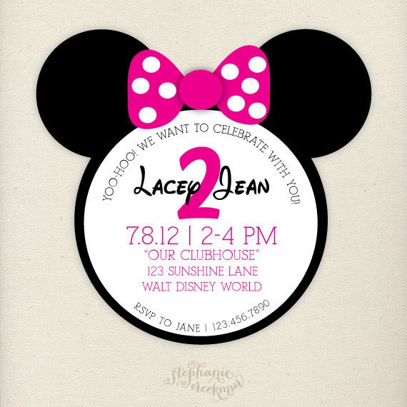PRINTABLE Pink Minnie Mouse Invitations Children's