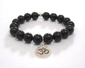Om Onyx Mala Bracelet, Yoga Mala Buddhist Beads Power Bracelet Worry Beads Inspirational Meditation Protection Bracelet Chakra Stones