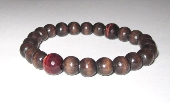Men bracelet wood worry beads tigers eyes chakra jewelry men birthday gift for him Buddhist yoga teacher boyfriend, grounding healing stones