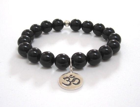 Om Onyx Mala Beads Bracelet, Yoga Jewelry Gift for Yogi, Buddhist Beads, Worry Beads, Inspirational Gift Idea Meditation Protection Bracelet