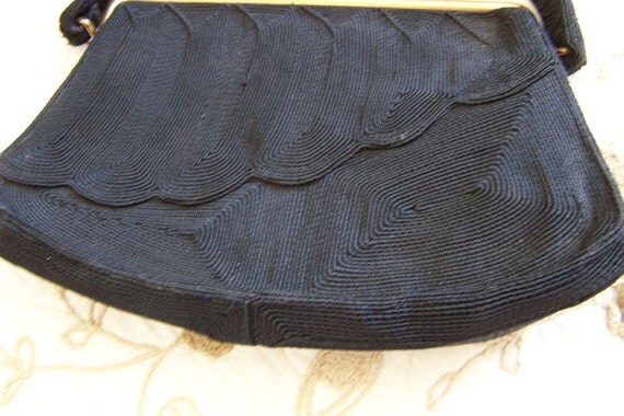 "Vintage 40's Genuine ""CORDE""  Jet Black Gimp Purse with Scalloped Front Design."