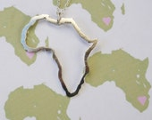 outline of Africa African Necklace Continent Pendant handmade sterling silver by Lola&Cash