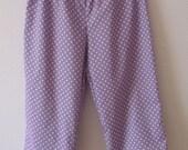 SALE item Organic cotton capri pants. Cropped pants. size Large. Lavender polka dots